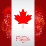 Bandeira de Canadá com os fogos-de-artifício para o dia nacional de Canadá Fotografia de Stock