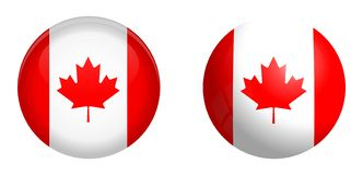 Bandeira de Canadá sob o botão da abóbada 3d e na esfera/bola lustrosas ilustração stock