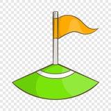 Bandeira de canto no ícone do campo de futebol, estilo dos desenhos animados ilustração royalty free