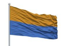Bandeira de Carrefour City no mastro de bandeira, Haiti, isolado no fundo branco Ilustração Stock