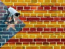 A bandeira de Catalonia pintou na parede Imagem de Stock