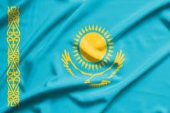 Bandeira de Cazaquistão fotografia de stock royalty free