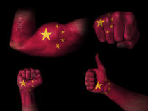 Bandeira de China em partes do corpo Fotografia de Stock