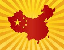 Bandeira de China na ilustração da silhueta do mapa Fotos de Stock