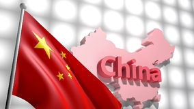 Bandeira de China no mapa de China video estoque