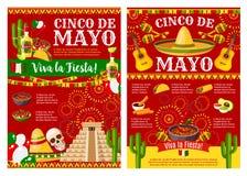 Bandeira de Cinco de Mayo para a festa natalícia mexicana ilustração stock