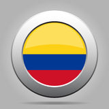 Bandeira de Colômbia Botão redondo cinzento do metal brilhante Fotografia de Stock