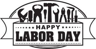 Bandeira de comemoração oval do preto feliz do Dia do Trabalhador com silhuetas o ilustração stock