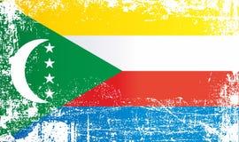 Bandeira de Comores Pontos sujos enrugados ilustração do vetor