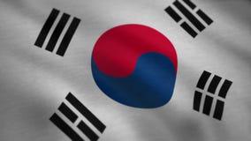 A bandeira de Coreia do Sul que acena no vento Animação da bandeira de país de Coreia do Sul ilustração do vetor