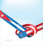 Bandeira de Cuba e de EUA Fotografia de Stock Royalty Free
