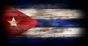 Bandeira de Cuba em uma superfície de madeira Fotografia de Stock