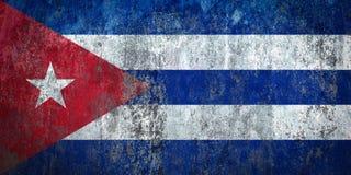 Bandeira de Cuba pintada em uma parede ilustração royalty free