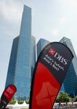 Bandeira de DBS na regata do rio Fotografia de Stock
