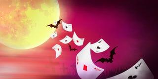 Bandeira de Dia das Bruxas com voo dos cartões Fotos de Stock Royalty Free