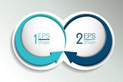 Bandeira de dois elementos do negócio, molde 2 etapas projetam, fazem um mapa, opção infographic, passo a passo do número, dispos Foto de Stock