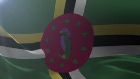 Bandeira de Domínica que acena no mastro de bandeira no vento, símbolo nacional da liberdade ilustração do vetor