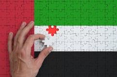 A bandeira de Emiratos Árabes Unidos é descrita em um enigma, que a mão do ` s do homem termine para dobrar foto de stock royalty free