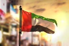 Bandeira de Emiratos Árabes Unidos contra o fundo borrado cidade em Sun Fotografia de Stock