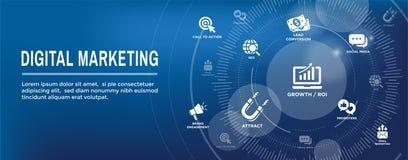 Bandeira de entrada da Web do mercado de Digitas com ícones w CTA do vetor, GR ilustração do vetor