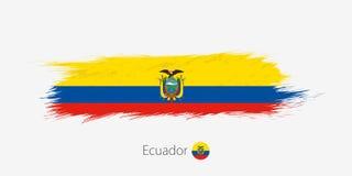 Bandeira de Equador, curso abstrato da escova do grunge no fundo cinzento ilustração royalty free