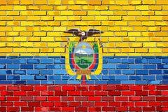 Bandeira de Equador em uma parede de tijolo ilustração royalty free