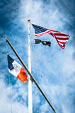 Bandeira de Estados Unidos da América no flagpole foto de stock
