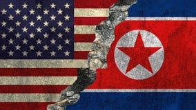 Bandeira de Estados Unidos e de Coreia do Norte Imagem de Stock Royalty Free