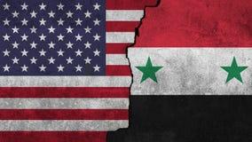 Bandeira de Estados Unidos e de Síria pintados na parede Foto de Stock