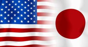 Bandeira de EUA-Japão Imagens de Stock