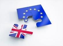 A bandeira de Europa e de Inglaterra dividiu partes do enigma ilustração royalty free