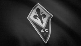 A bandeira de FC Fiorentina ? acenar, monocrom?tica, ru?do da tev? Close-up da bandeira de ondula??o com logotipo do clube do fut ilustração stock