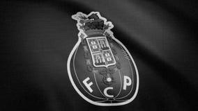 A bandeira de FC Porto é acenar, monocromática, ruído da tevê Close-up da bandeira de ondulação com logotipo do clube do futebol  ilustração royalty free