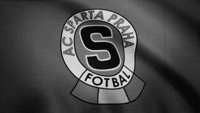 A bandeira de FC Sparta é acenar, monocromática, ruído da tevê Close-up da bandeira de ondulação com logotipo do clube do futebol ilustração royalty free