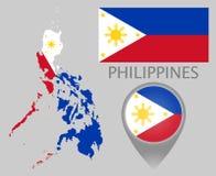 Bandeira de Filipinas, mapa e ponteiro do mapa ilustração do vetor