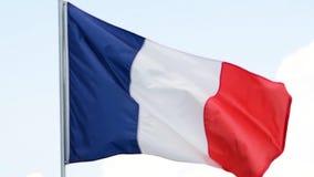 A bandeira de França acena no vento no movimento lento