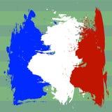 Bandeira de França sobre a ilustração do campo de futebol Foto de Stock