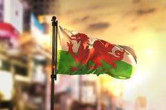 Bandeira de Gales contra o fundo borrado cidade no luminoso do nascer do sol Foto de Stock Royalty Free