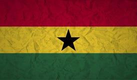Bandeira de Gana com o efeito do papel amarrotado e do grunge Fotografia de Stock