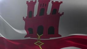 Bandeira de Gibraltar que acena no mastro de bandeira no vento, símbolo nacional da liberdade ilustração do vetor