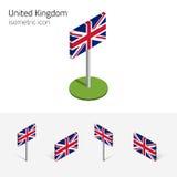 Bandeira de Grâ Bretanha, ícones 3D isométricos ajustados do vetor ilustração do vetor