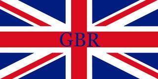 Bandeira de Grâ Bretanha com o nome de país escrito nele illustrati 3D ilustração stock