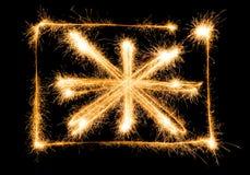 A bandeira de Grâ Bretanha fez dos sparkles no preto Imagens de Stock Royalty Free