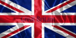 Bandeira de Grâ Bretanha fundida no vento com nome de país O escrito ilustração royalty free
