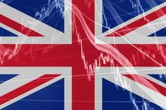 Bandeira de Grâ Bretanha Union Jack com o gráfico da carta da bolsa de valores que indica Brexit ilustração royalty free