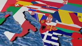Bandeira de Grécia no mapa 3d ilustração do vetor