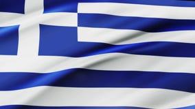 Bandeira de Grécia que acena na animação do movimento lento do vento sopro liso da bandeira realística da textura da tela 4K em u ilustração do vetor