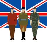 Bandeira de Grâ Bretanha e de soldados no uniforme do Army-2 britânico Fotografia de Stock