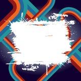 Bandeira de Grunge com curvas retros ilustração stock