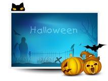 Bandeira de Halloween com abóboras assustadores Imagem de Stock